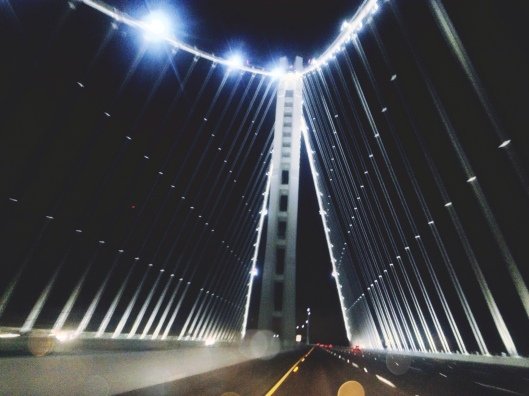My first drive over the new San Francisco Bay Bridge was at 2am...perfect because there was no traffic for once in my life.